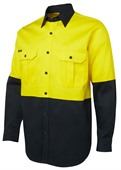 Long Sleeve Cotton Drill Hi-Vis Work Shirt